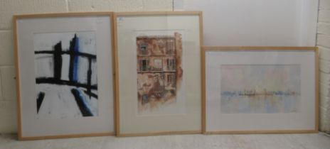 Mixed media studies - an abstract street scene; and a cityscape all bearing indistinct signatures &