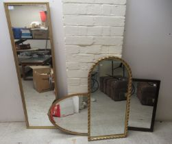 """Four dissimilar modern framed mirrors various forms largest 47"""" x 13"""""""