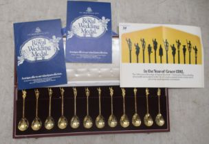 A cased set of twelve silver gilt spoons 'The Most Celebrated Characters in History series'