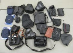 Photographic accessories: to include black hide camera cases; and four pairs of binoculars