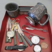 Small silver and other collectables: to include a 1950s Zenith stainless steel cased wristwatch,