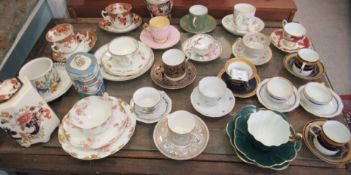 19thC and 20thC china cabinet cups and saucers (some trios): to include Tuscan, Worcester and