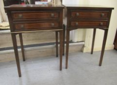 """A pair of modern mahogany finished, two drawer side tables, raised on square, tapered legs 28""""h"""