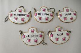 Five Royal Adderley bone china decanter labels, viz. Sherry, Gin, Port, Whisky and Brandy