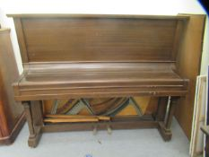 A B Sommerfeld mahogany cased iron framed, overstrung upright piano, no.5729 with forward