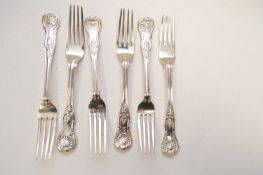 Six silver table forks