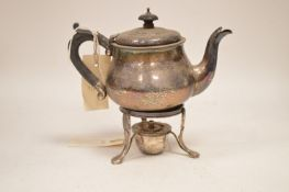 Silver teapot and associated burner stand