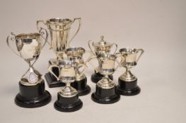A selection of silver trophies
