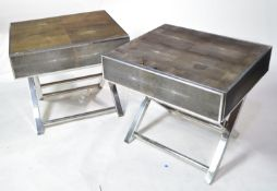 Pair of designer shagreen and chromed metal bedside tables.