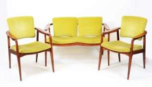 Mid Century teak settee and two armchairs