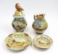 Group of studio animal decorated pottery