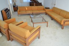 A 1960's teak and Harris Tweed modular lounge suite.