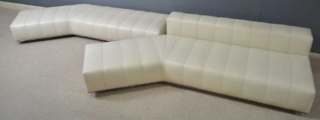 Attributed to Minotti: two cream leather angular seating units.