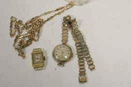 A yellow metal fancy link chain; and two watches.