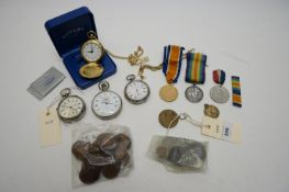 Silver-cased pocket watches; stopwatch; other watches; and medals.