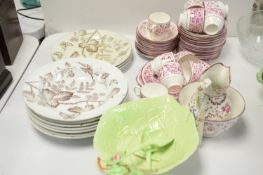 A pink lustre tea service; A. Woods, Newcastle plates and bowls and other items