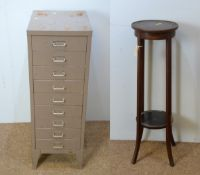 Metal nine drawer filing unit; and Edwardian mahogany two-tier plant stand.