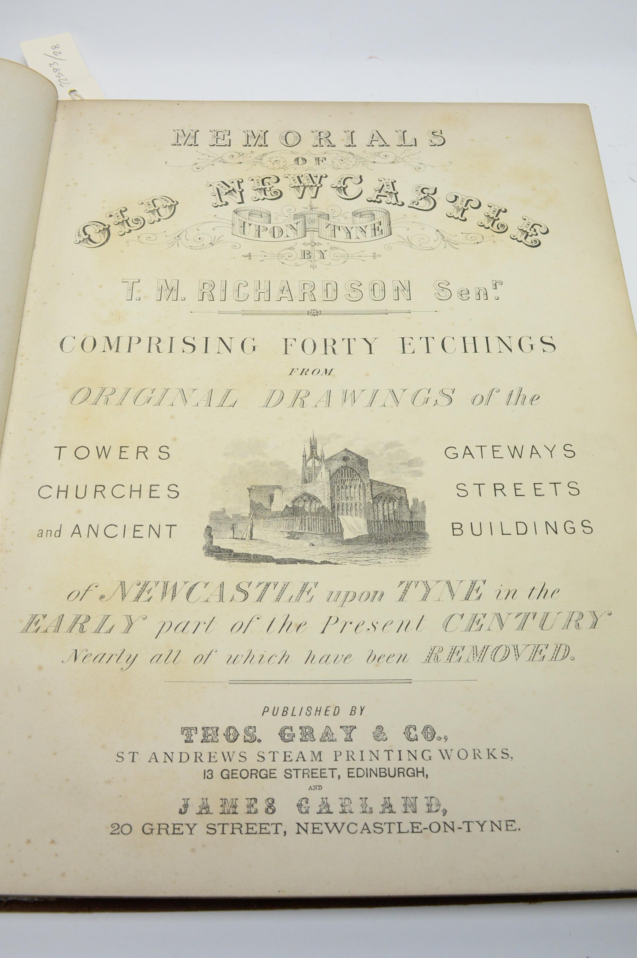 Richardson (Thomas Miles, snr.) Memorials of Old Newcastle upon Tyne. - Image 2 of 2