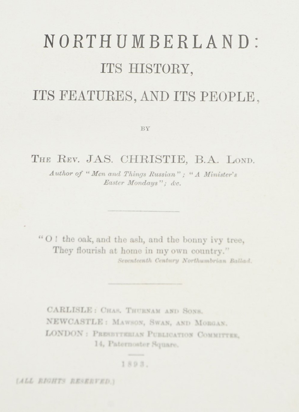 Knowles (W.H.) and Boyle (J.R.) and other Authors on Northumbrian interest. - Image 4 of 4