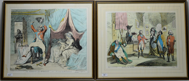 After James Gillray - pair of prints.