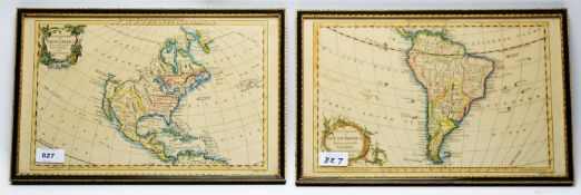 After Gilles Robert de Vaugondy - maps of North and South America.