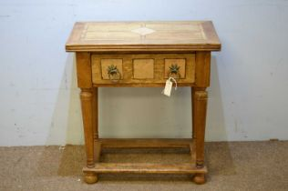 20th C blond mahogany side table.