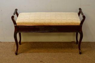 Early 20th C mahogany piano stool.