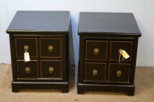 Pair of ebonised ash bedside tables
