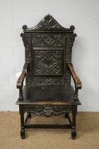 20th C oak Wainscot style armchair.