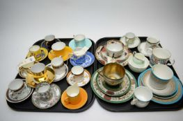 A quantity of cups and saucers by Crown Ducal, Minton, and Aynsley, a Worcester trio set, a Japanese