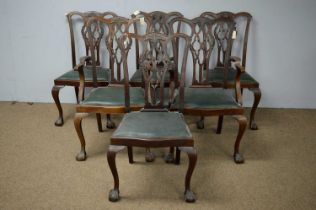 Set of six 20th C George III style dining chairs.