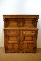20th C oak court cupboard.
