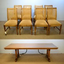 20th C elm refectory table; and eight dining chairs.