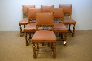 Set of six 20th C oak dining chairs.