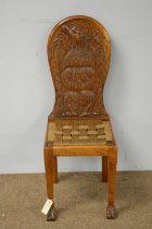 20th C oak hall chair.