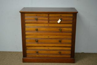 Late 19th C walnut chest of drawers.
