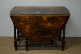 Early 20th C oak gateleg table.