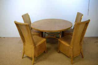 20th C wicker table and chairs