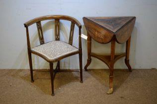 Edwardian drop leaf table; and an Edwardian corner chair.