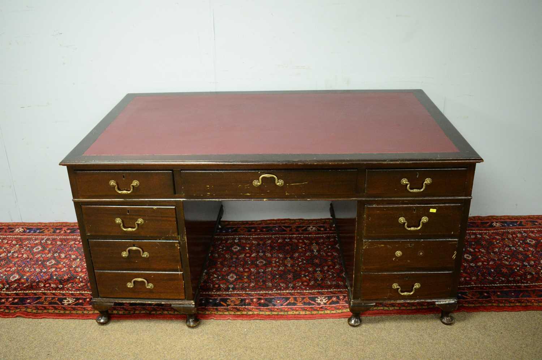 Edwardian mahogany desk. - Image 2 of 7