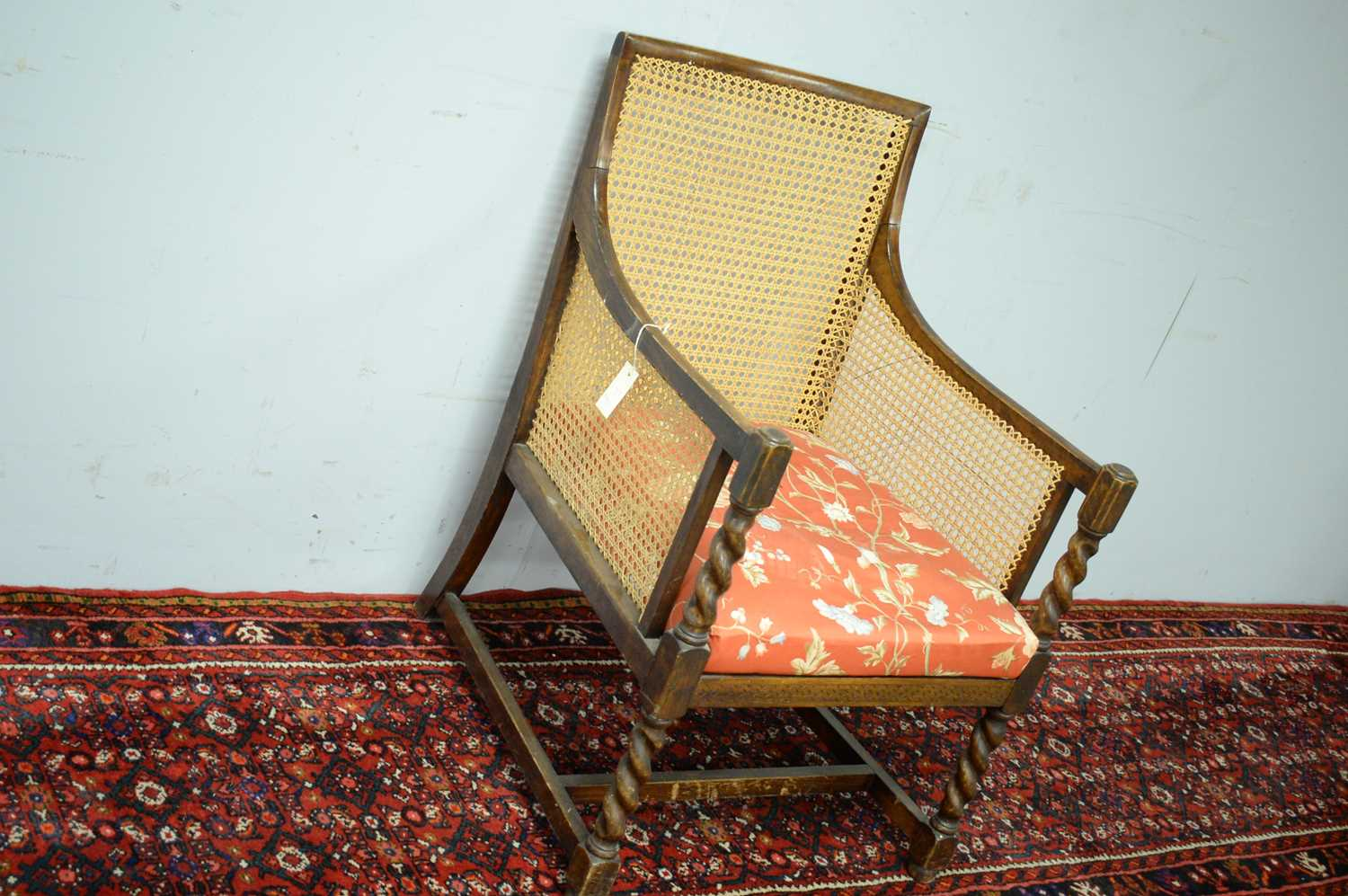 A late 19th Century oak bergere chair - Image 3 of 5