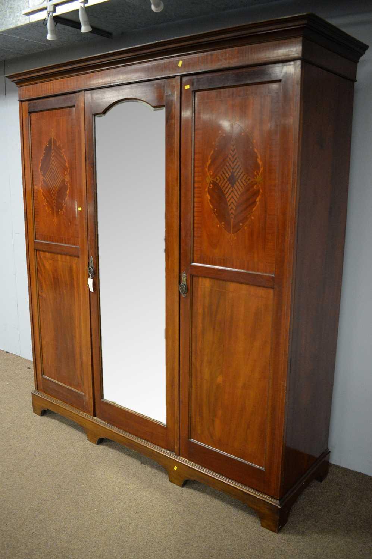 Edwardian three door wardrobe - Image 3 of 7