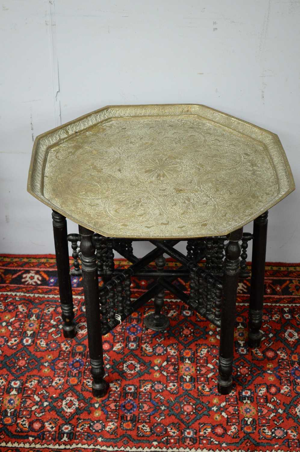 A pair of Islamic brass topped side tables. - Image 4 of 5