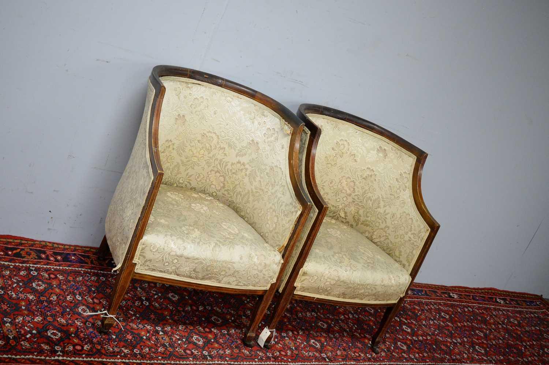 Pair of Edwardian mahogany chairs. - Image 3 of 5