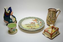 Dartmouth Devon gluggle jug, Wade planter, two Royal Doulton plates and a butter dish