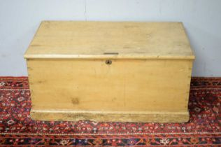 A 20th C stripped pine blanket box.