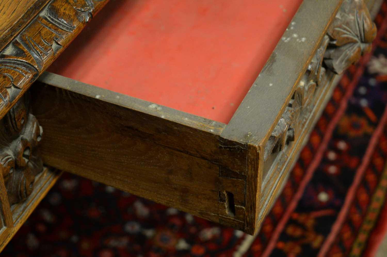 Victorian oak writing desk. - Image 7 of 7