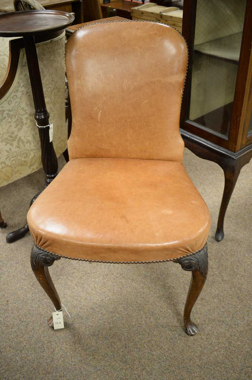19th Century mahogany and leather dining chair - Image 2 of 3