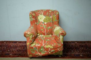 Early 20th C wing back armchair.
