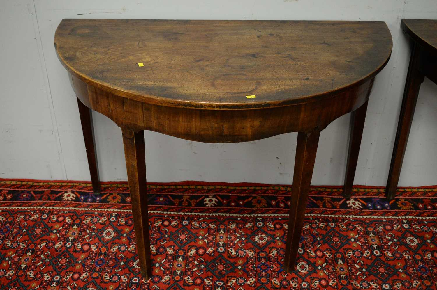 Two 19th C mahogany demi lune side tables. - Image 3 of 5